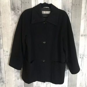 Max Mara Black Wool Single Breast Coat Jacket